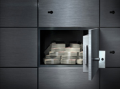 Grey bank vault with money